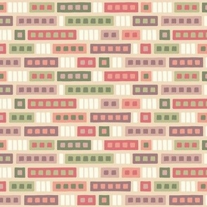 Rectangle Medley in Peach & Green