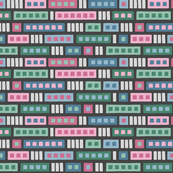 Rectangle Medley in Green, Pink & Blue