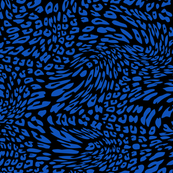 Sapphire Blue Black Color Animal Leopard Skin Twist Pattern
