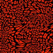 Scarlet Red Black Color Animal Leopard Skin Twist Pattern