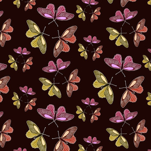 Butterfly trios on dark red