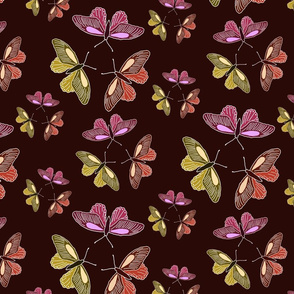Butterfly trios on medium red