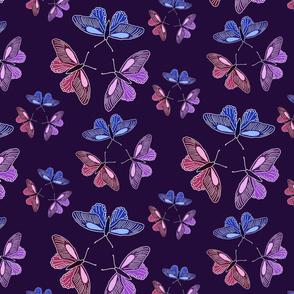 Butterfly trios on purple