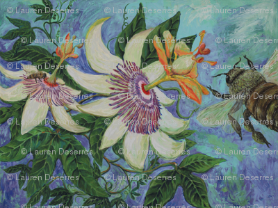 """The Flight"" Honey Bee and Passion Flower"