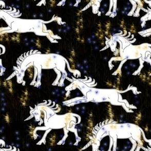 Unicorns on Fairy Flower Field at Night