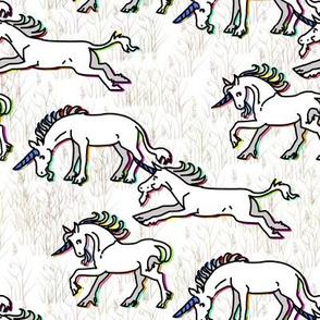 Rainbow Glow Unicorns on Snowy Fairy Field