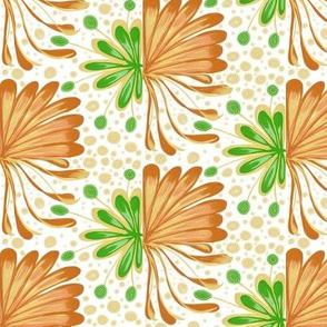 Autumnal Leafy Fans with Dots and Spots on White - Medium