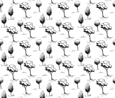 Trees in a forest fabric by oan_dar_design on Spoonflower - custom fabric