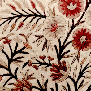 floral embroidery sepia large