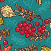 Autum Leaves & Berries HJ Teal Blue