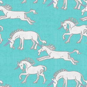 Unicorns on Turquoise Linen Texture