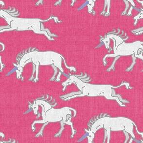 Unicorns on Hot Pink Linen Texture