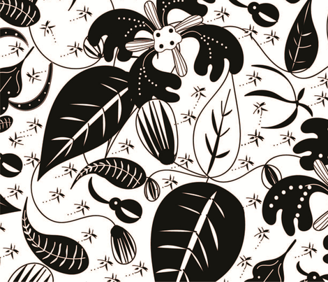 Black & White Floral fabric by gracelillydesigns on Spoonflower - custom fabric