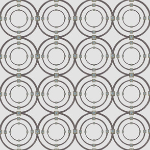 Taupe triple circles on silver
