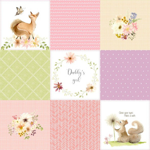 Daddy's Girl Quilt Blanket Panel - Cheater Quilt - Bear Squirrel Fox Flowers - Pink Lilac Lime Blush, AVA Pattern