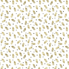Gold Pineapples Dot_1 inch