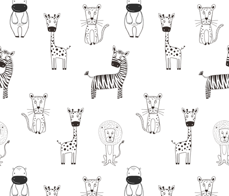 Black & White Safari fabric by melarmstrongdesign on Spoonflower - custom fabric