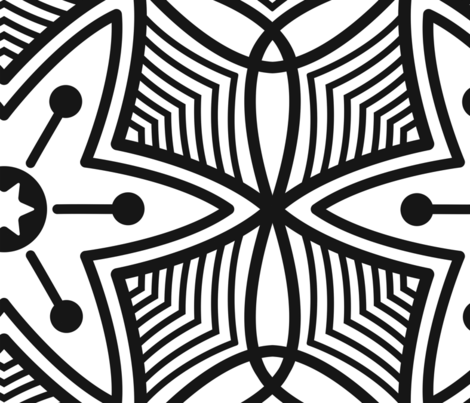 Flower motive black and white fabric by sweet_designs_nz on Spoonflower - custom fabric