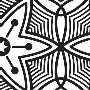 Flower motive black and white