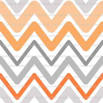 Soft Chevron Waves Orange Large Scale
