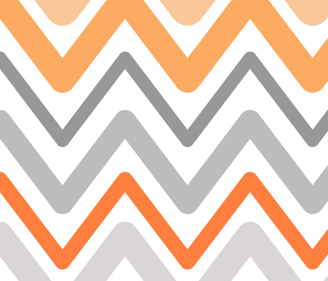 Soft Chevron Waves Orange Large Scale fabric by vintage_style on Spoonflower - custom fabric