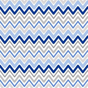 Soft Chevron Waves Blue Small Scale