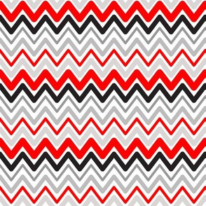 Soft Chevron Waves Red Black Small Scale