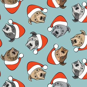 All the pit bulls - Santa hats - Christmas Dog - dusty blue