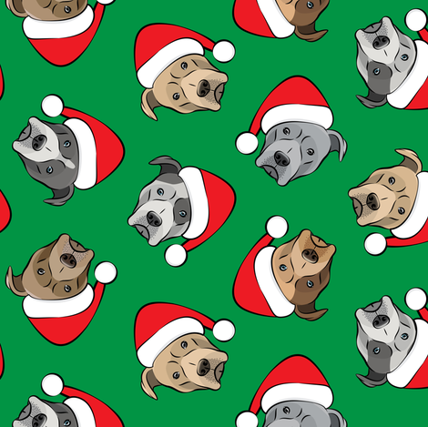 All the pit bulls - Santa hats - Christmas Dog (green) fabric by littlearrowdesign on Spoonflower - custom fabric
