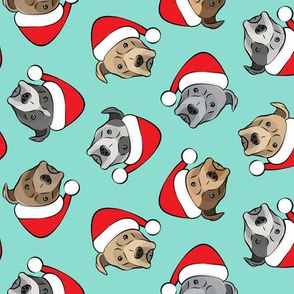 All the pit bulls - Santa hats - Christmas Dog - dark aqua