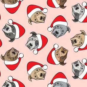 All the pit bulls - Santa hats - Christmas Dog (pink)