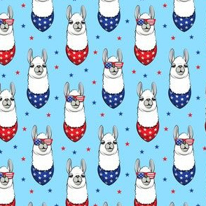 "(1.75"" scale) patriotic llama on blue with stars C18BS"