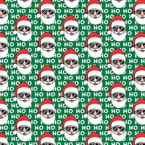 "(1.5"" scale) Santa Claus w/ sunnies - HO HO HO green - Christmas C18BS"