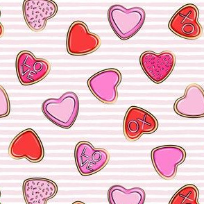 (small scale) heart sugar cookies - valentines - pink stripe C18BS