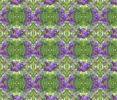 Butterflies and Lilacs In the Garden fabric by hannatine on Spoonflower - custom fabric