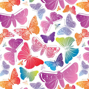 Butterflies Pastels on White