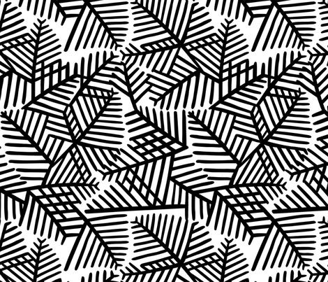 Leaves in BW fabric by dalymadecraft on Spoonflower - custom fabric