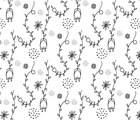 Black and white Floral fabric by bruxamagica on Spoonflower - custom fabric