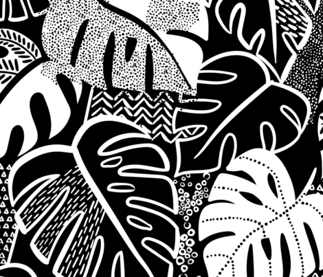 patterned monstera fabric by laura_may_designs on Spoonflower - custom fabric