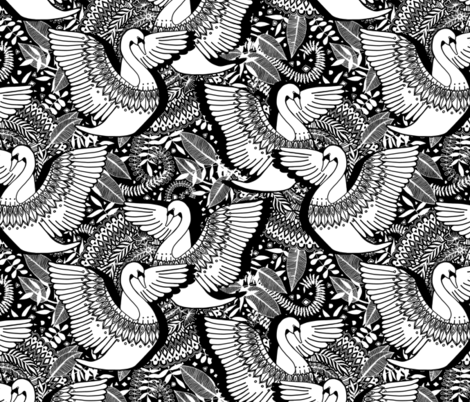 Stylish Swans in Monochrome Black and White - large fabric by micklyn on Spoonflower - custom fabric