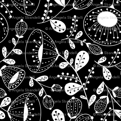 White on black Floral large scale