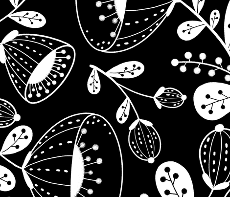 White on black Floral large scale fabric by gnoppoletta on Spoonflower - custom fabric