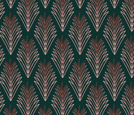 dark green red fern fabric by tekstile on Spoonflower - custom fabric