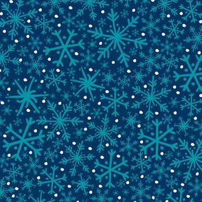 Midnight Snowflake + Flurry Texture Pattern in Turquoise, Indigo, & White // Hand Drawn Snowy Winter Weather Coordinate