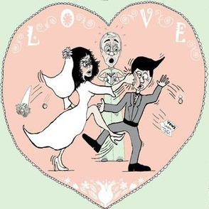 Love and Marriage cartoon, large scale, gray cream cucumber green peach pink
