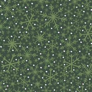 Midnight Snowflake + Flurry Texture Pattern in Forest Green, Leafy Green & White // Hand Drawn Snowy Winter Weather Coordinate