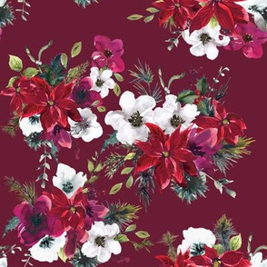 "8"" Christmas Dream Florals // Persian Plum"