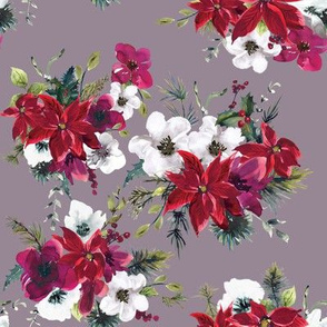 "8"" Christmas Dream Florals // Venus Purple"