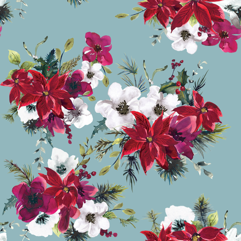 "8"" Christmas Dream Florals // Shadow Blue fabric by hipkiddesigns on Spoonflower - custom fabric"