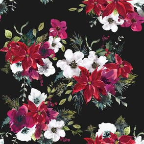 "8"" Christmas Dream Florals // Gray Black"